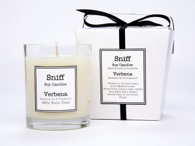 Scented candles, Verbena candle, Sniff Soy Candles